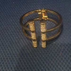 Gold cuff bracelet with rhinestones